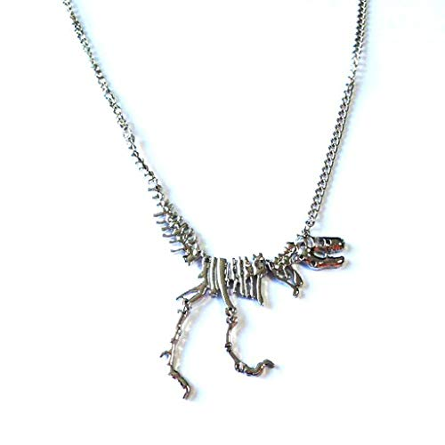 Pendant Necklace (1 set)Fashion Metal Dragon Skull Skeleton Dinosaur Bones Pendant Cool Necklaces,The gift for yourself, family and friends.silver