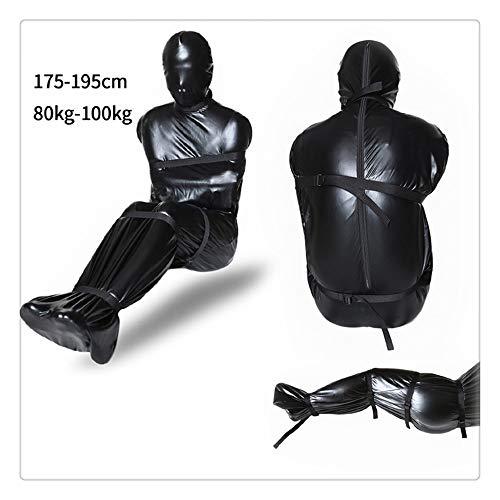 Z-one 1 Lackleder Spielen Kost¨¹m Haube Maske Onesies Bar Nachtclub Body Bandage Handschellen Cosplay Uniform Dessous (L)
