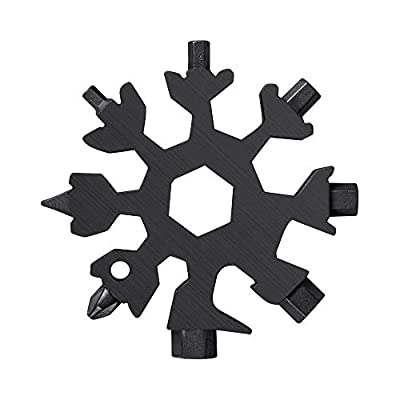 18-in-1 Snowflake Multi Tool, Portable Multitools Screwdriver Kit, Christmas Gift Stainless Steel (Black)