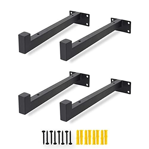 ADDGRACE Paquete de 4 soportes para estantes resistentes para pared con tornillos para cocina, baño (10 pulgadas), color negro