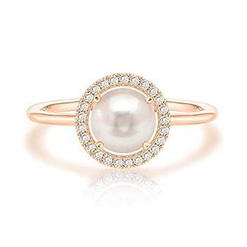 Swarovski Crystal 14K Rose Gold Plated Birthstone Rings   Rose Gold Rings for Women   Pearl Ring