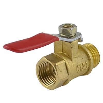 """Amico 1/4"""" PT Male to Female Thread Red Lever Handle Full Port Brass Ball Valve from Amico"""