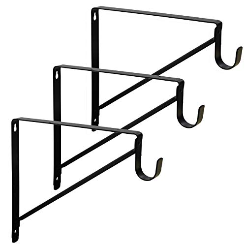 Harrier Premium Heavy Duty Closet Shelf and Rod Bracket - 3 Pack, Black
