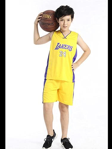 TYTF Kind Ärmelloses Basketball Trikot Kleidung Mesh Weste Uniform Oberteil und Shorts Jungen Kinder Sommer Bekleidung Set 1-15 Jahre (Gelb, XXL(155-160CM))