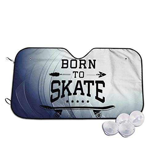 Auto-Frontscheibe Auto-Sonnenschutz Windshield Sun Shade Skateboard Born to Skate Funny Visor Car Sunshade Universal 51.2x27.5 Inch,55x30 Inch for cars SUV Truck,Block The Sun,Protects Interior Cool