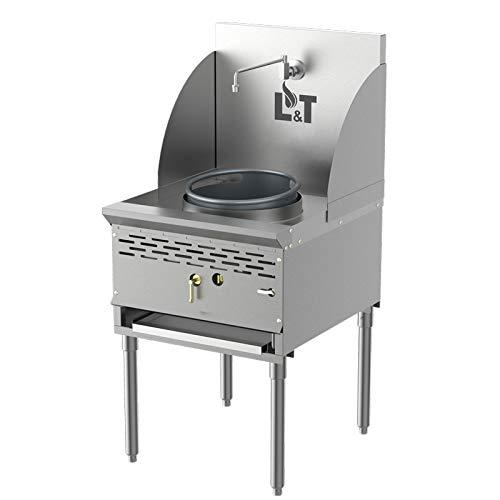 Pantin (Propane Gas) 13' Single Chamber Commercial Restaurant Stainless Steel Compact Wok Range - 128,000 BTU