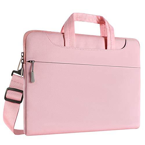 MOSISO laptoptas denim stof laptop sleeve hoes met handvat en riem 15-15,6 Zoll (38,1-39,6 cm) roze