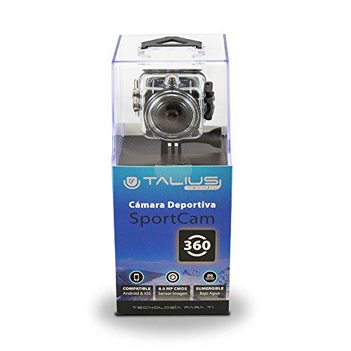 Talius SportCam 360 - cámara Deportiva - batería 1150mAh - Angulo de Vision 220º - Pantalla LCD - Color Negro