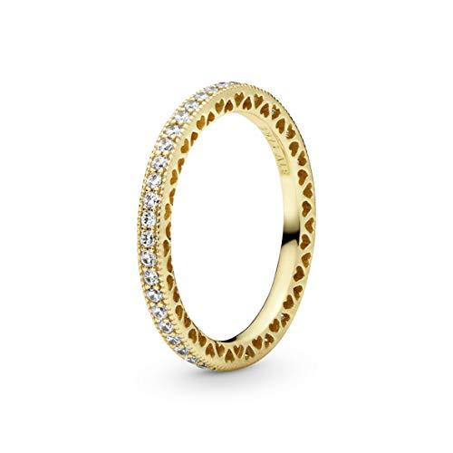 Pandora anillo De las mujeres Plata 925 / - / pulido brillante, chapado en oro amarillo de 18k circón - 168655C01-56