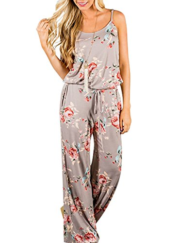 AMiERY Floral Printed Jumpsuits Women Halter Sleeveless Wide Long Pants Jumpsuit Rompers (M, Khaki)