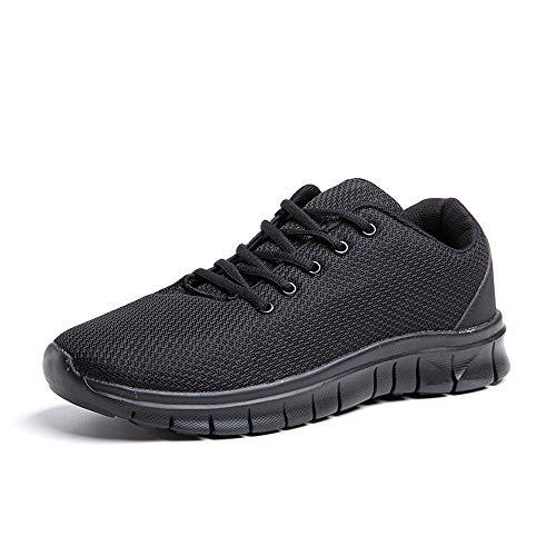 Zapatillas Running Hombre Zapatos Deportivos con Cordones Casuales Sneakers Sport Fitness Gym Outdoor Transpirable Comodas Calzado Negro Talla 59