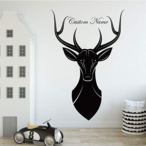 BJWQTY Elk Nom Personnalisé Produits Animaux Stickers Muraux Animaux Amoureux Décoration de La Maison Accessoires de Salon Chambre d'enfant Vinyle Decal
