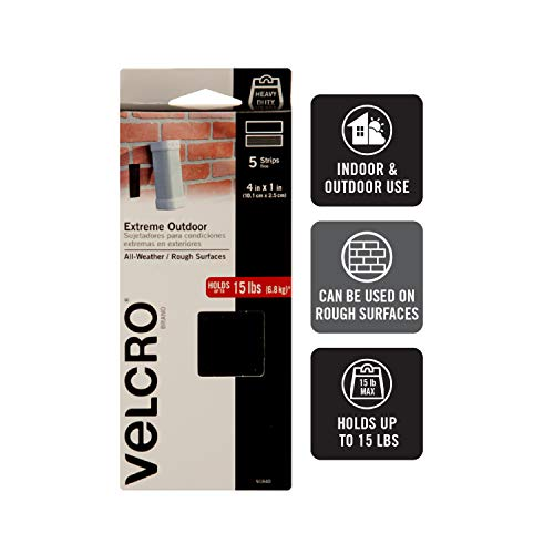 VELCRO Brand Industrial Strength Fasteners | Extreme Outdoor Weather Conditions | Professional Grade Heavy Duty Strength Holds Up To 15 lbs on Rough surfaces | 4 x 1 inch Strips, 5 Sets, Black Photo #2