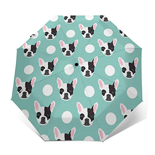 Travel Sun&rain Umbrella - Light Compact Parasol with UV Protection for Men Women Multiple Colors, French Bulldog Pattern