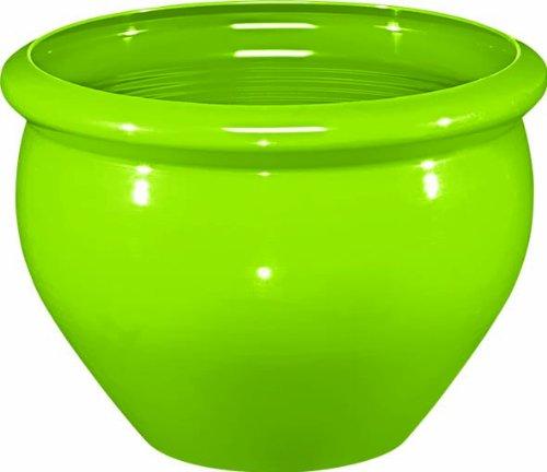 Emsa 514115 Blumenkübel für Innen- und Außenbereich, Glasurkeramik-Optik, Ø 32 cm, Grün, Siena Nobile