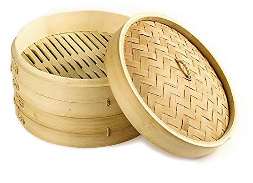 Vaporera de bambú para cocinar al vapor, cocedor 2 nivel con tapa, cesta de bambú, recipiente de bambú, oriental, cocer al vapor (25x14.5cm (2 pisos))