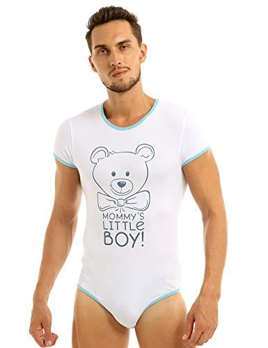 Agoky Herren Strampler Body mit Bär und Sprüchen - Mommy\'s Little Boy - Kurzarm-Body Rundhals Bodysuit lustig Pyjamas Nachtwäsche Blau XL