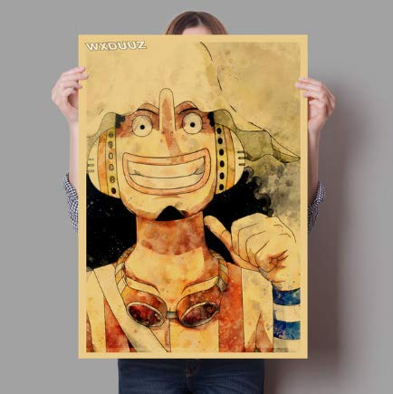qiaolezi Decoración del hogar Etiqueta de la Pared One Piece Retro Anime Luffy Calidad HD Nursery Kids Room Pintura Posters Lienzo Pintura A441 50 × 70CM Sin Marco