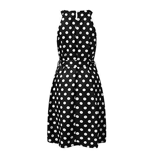 KKVK Vestido de Verano para Mujer, con Lunares, hasta la Rodilla, sin Mangas, con Hombros Descubiertos, Casual, Suelto Negro Negro (XXL