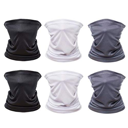 [6 Pack] Unisex Sun UV Protection Face Bandana, Reusable Cloth Tube Scarf for Cycling Motorcycle Hiking, Breathable Neck Gaiter Balaclava for Men Women(Black&Dark Gray&White)