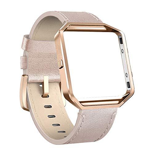 Cynmir Lederarmband Kompatibel mit Fitbit Blaze Smart Watch Echtes Leder band mit Metallrahmen Klein & Groß für Damen Herren Champagner Gold Rose Gold Grau Beige Rose Pink