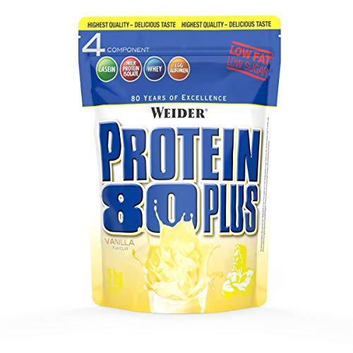Weider Protein 80 Plus Eiweißpulver, Vanille, Low-Carb, Mehrkomponenten Casein Whey Mix für Proteinshakes, 2kg