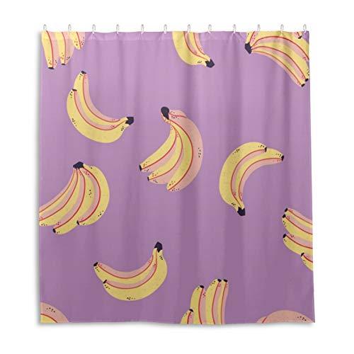 Duschvorhang, Bananen-Muster, Stoff, Badezimmer-Dekor-Set mit Haken, 183 cm lang