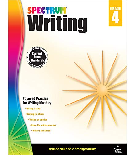 Spectrum 4th Grade Writing Workbook—State Standards for Focused Writing Practice With Writer's Handbook and Answer Key for Homeschool or Classroom (144 pgs)