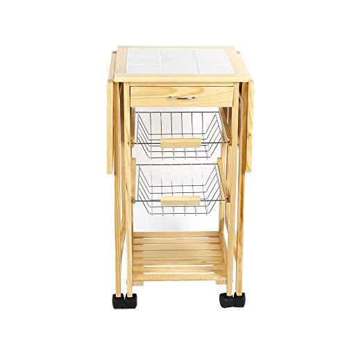 POPSPARK Carrello Cucina in Legno di bambù con Ripiano Carrello da Portata Portavivande e 4 Ruote (91×37×75cm)
