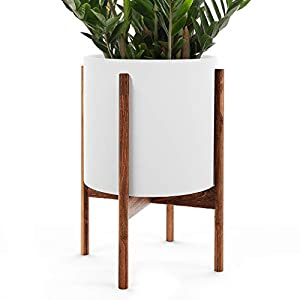 OMYSA Mid Century Plant Stand with Pot Included (10″) – White Ceramic Planter with Stand – Large Indoor Planter Pot for Plants, Trees & Flowers – 6 Colors (White, Black, Peach, Blush, Sage, Cream)