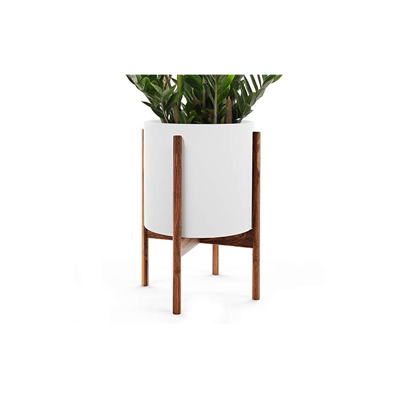 """silk flower arrangements omysa mid century plant stand with pot included (10"""") - white ceramic planter with stand - large indoor planter pot for plants, trees & flowers - 6 colors (white, black, peach, blush, sage, cream)"""