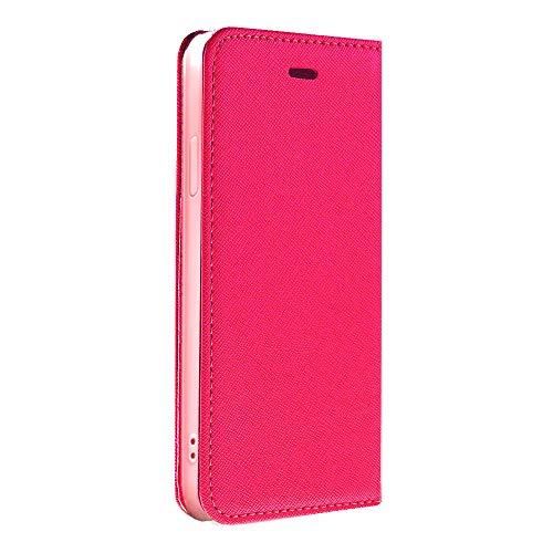 サフィアーノレザー 手帳型 スマホケース スマホカバー ストラップ付 (【左利き用】iPhone5s / SE, Pink×Pink)
