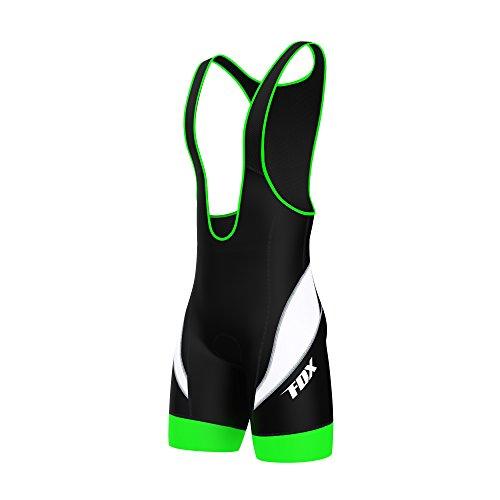 FDX Culote de ciclismo con tirantes para hombre, acolchado, pantalones cortos, color Black/Green/White, tamaño X-Large