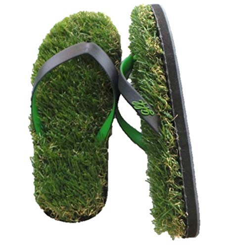 GFF Grass Flip Flops, Large (11-13), Black Green