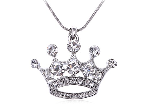Alilang Clear Crystal Rhinestone Emperor Royal Crown Pendant Necklace - Perfect For King & Queens!