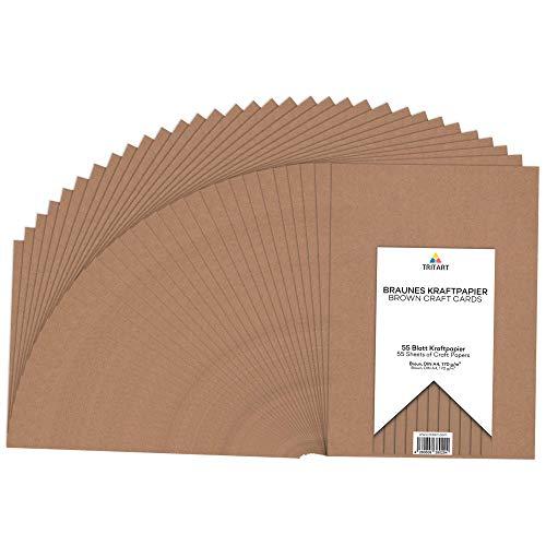 Kraftpapier A4 170g /m² I Natur Karton zum Bedrucken 55 Blatt I stabiles kreativ Tonpapier zum Basteln und Malen I dickes Druckerpapier I DIY Tonzeichenpapier I braunes Papier Vintage
