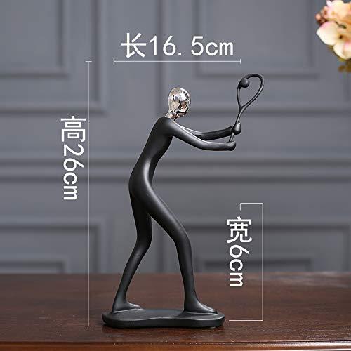 iulkko Figur Skulptur Dekoration Kleine Ornamente Zu Hause Tv Wein Schrank Set Abstrakte Handwerk 16,5 x 6 x 26 cm Federball