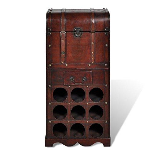 Festnight Bottigliera Vino Legno Bottigliera di Legno per 9 Bottiglie con Baule e Cassetto