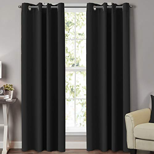 Turquoize 100% Blackout Extra Long Curtains for Patio Door Thermal Insulated Blackout Window Treatment Panels for Sliding Glass Door Energy Saving Curain Draperis, Set of 2, 52 by 108 Inch, Black