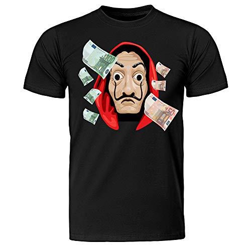 T-Shirt Maglietta Uomo La Casa di Carta, Maschera di Dalì, La Casa de Papel (Nero, L IT Uomo)