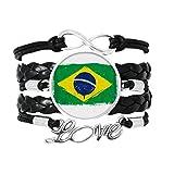 手で塗られたブラジルフラグブラジル 愛のアクセサリーツイストレザーニットロープリストバンド編み
