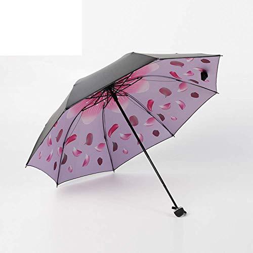 ZHANGYY Umbrella 8-Bone Manual Three-Fold Folding Dual-Use Sunny Umbrella Easy to Carry Outdoor Garden Picnic and Terrace