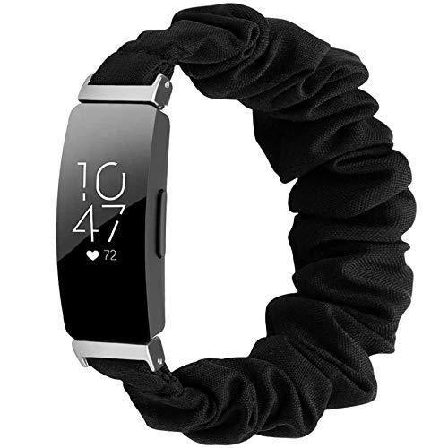 Miimall Kompatibel mit Fitbit Inspire/Inspire 2/Inspire HR Armband Scrunchie, Weich Dehnbar Elastizität Ersatzband Gummizug Armbänder für Fitbit Inspire 2/Inspire HR - Klein,Schwarz