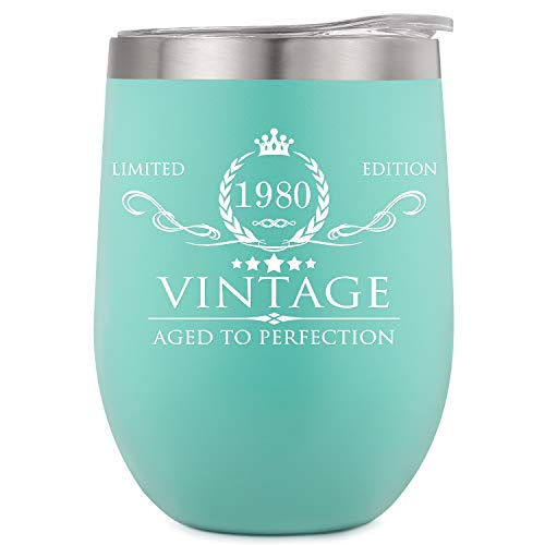 AOZITA 40th Birthday Gifts for Women and Men - 40th Birthday Decorations - 40th Anniversary Gifts Ideas for Her, Mom, Dad, Wife, Husband - 12oz Mint Wine Tumbler, Double Wall Vacuum Cup w Lid