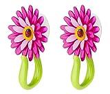 VIGAR Flower Power Gancho con Ventosa, Rosa, 8x5x12 cm, 2 Unidades, PP, Goma, PPN, PVC Friendly, Magenta y Verde, Dimensiones: 8 x 5 x 12 cm