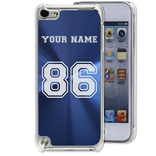 Case Compatible with iPod Touch 5th/6th/7th Generation, Sports Jersey, Personalized Engraving Included (Dark Blue)