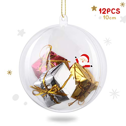 amzdeal 10 cm Boule de Noël Transparente à Remplir en Plastique, Lot de 12 pcs Boule de Décoration pour Sapin de Noël, Anniversaire, Mariage, Fête etc. Appliquer à Chambre, Jardin ou Parc
