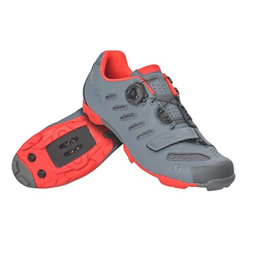 SCOTT MTB Team BOA Cycling Shoe - Men's Cool Grey/Neon Orange, 41.0