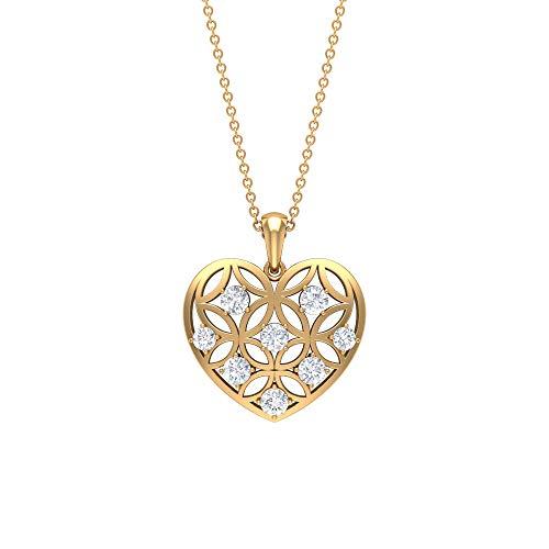 Collar de corazón de oro, colgante de moissanita, collar de amor, collar de aniversario blanco