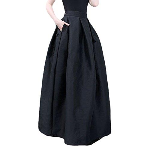 Linnuo Mujeres A-Line Faldas Plisadas de Color Sólido de Alta Cintura Larga Falda Swing Circle Falda
